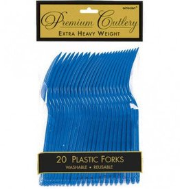 Bright Royal Blue Premium Forks 20ct