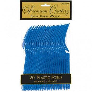 Bright Royal Blue Premium Forks (20)