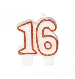 #16 Red Glitter Numeral Candle