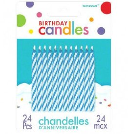 Blue Candy Stripe Spiral Candles (24)