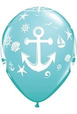 """11"""" Printed Nautical Sailboat and Anchor"""