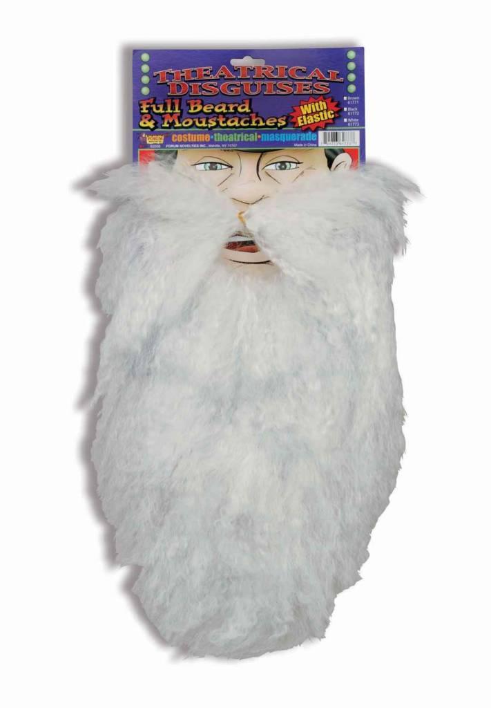 Full Beard and Moustache White