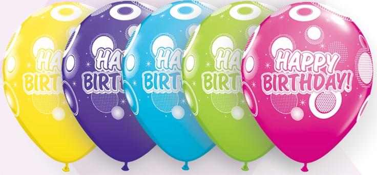"11"" Printed Birthday Dots & Glitz Balloons 1 Dozen Flat"