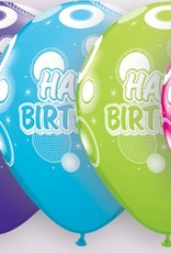"11"" Printed Birthday Tropical Dots & Glitz Balloon 1 Dozen Flat"