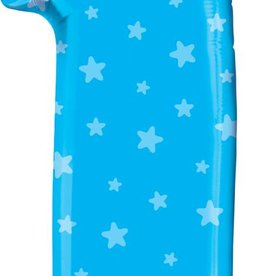 "Mylar Number One Blue Stars 38"" Balloon"