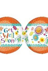 Bubble Get Well Floral Butterfly Orbz Balloon