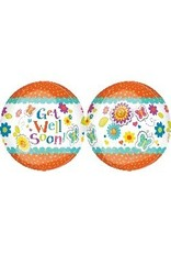 """Get Well Floral Butterfly Orbz 22"""" Bubble Balloon"""
