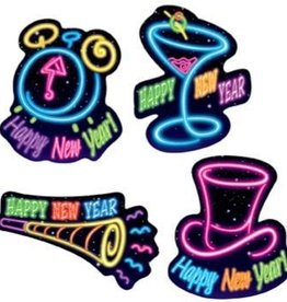 Happy New Year Cutouts Neon Lights