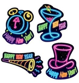 Happy New Year Cutouts Neon Lights