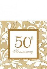 50th Anniversary Beverage Napkins 16ct