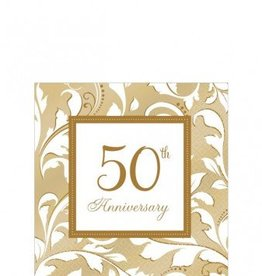 50th Anniversary Beverage Napkins 16ct