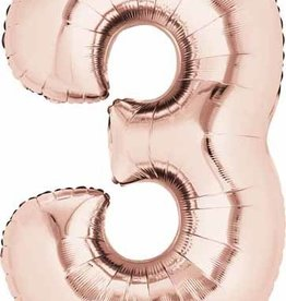 Rose Gold #3 Number Shape Mylar Balloon