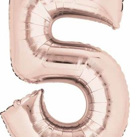 Mylar Rose Gold #5 Number Shape Balloon
