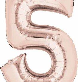 Rose Gold #5 Number Shape Mylar Balloon