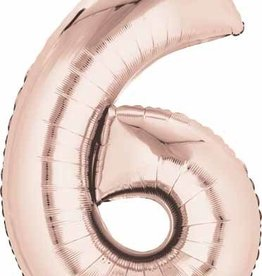 Mylar Rose Gold #6 Number Shape Balloon