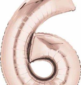 Rose Gold #6 Number Shape Mylar Balloon