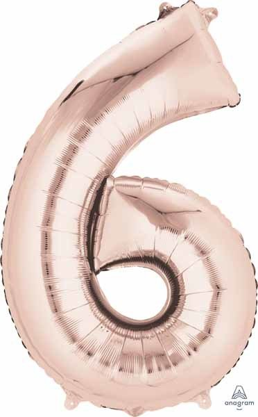 Rose Gold #6 Number Shape Mylar Balloon