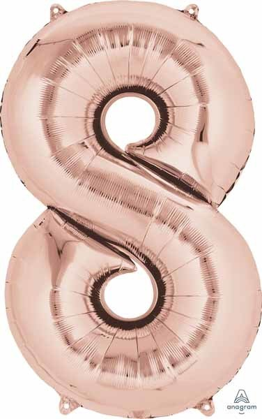 Mylar Rose Gold #8 Number Shape Balloon