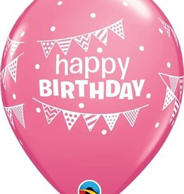 "11"" Birthday Pennant and Dots Balloon 1 Dozen Flat"