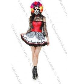 Women's Costume Dia De Muertos Extra Small  (3-5)