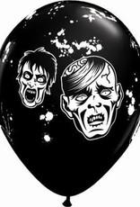 """11"""" Printed Zombie Balloon 1 Dozen Flat"""