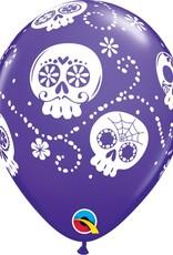 "11"" Printed Sugar Skulls  Balloon 1 Dozen Flat"