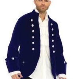 Men's Costume Long Blue Velvet Coat