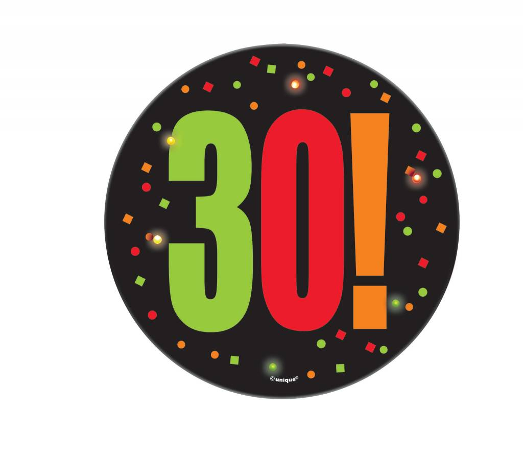 "Birthday Cheer Large Blinking Badge ""30"""