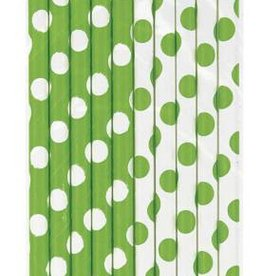 Paper Straws Lime Polka Dots