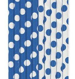 Paper Straws Blue Polka Dots