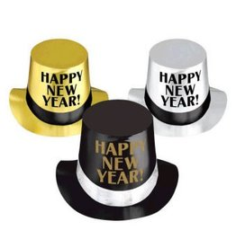 Happy New Year Top Hats - Black