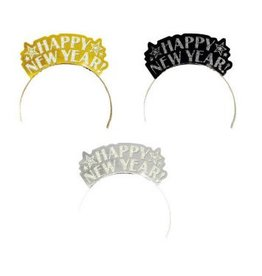 Happy New Year Glitter Paper Assorted Tiaras - Black, Silver & Gold