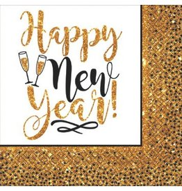Gold Glitter New Year Luncheon Napkins (36)