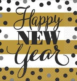 Golden New Year Beverage Napkins (16)