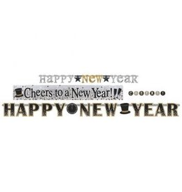 Happy New Year Letter Banner Multi Pack - Black, Silver & Gold