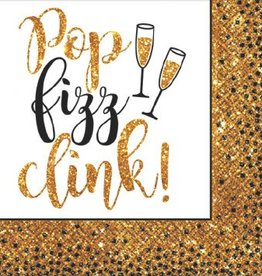 Gold Glitter New Year Beverage Napkins (36)