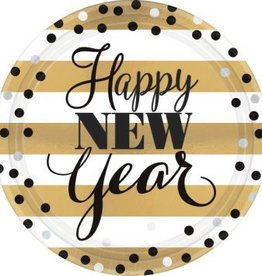 Golden New Year Round Metallic Plates, 9""