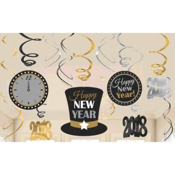 2018 Value Pack Foil Swirl Decorations - Black, Silver, Gold