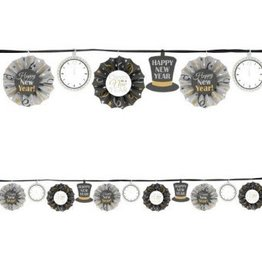 Happy New Year Fan Banner Garland - Black, Silver & Gold