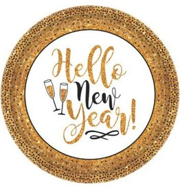 Gold Glitter New Year Round Plates, 10 1/2""