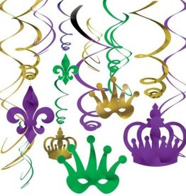 Mardi Gras Foil Swirl Value Pack Hanging Decorations