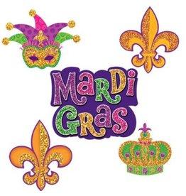 Mardi Gras Mini Glitter Paper Cutouts