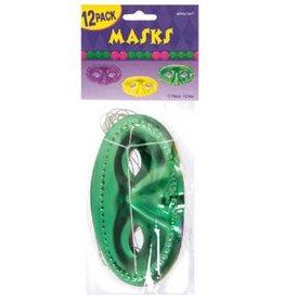 Metallic Foil Half Masks - Purple, Green & Gold
