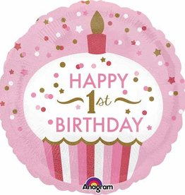 "1st Birthday Cupcake Pink 18"" Mylar Balloon"