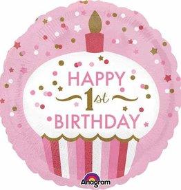 "1st Birthday Cupcake Pink 18"" Mylar Balloon"