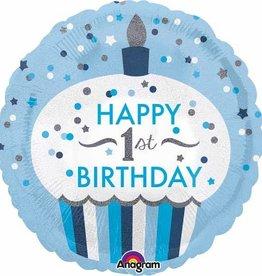 "1st Birthday Cupcake Blue 18"" Mylar Balloon"