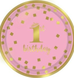 "1st Birthday Girl Metallic Round Plates 7"" (8)"
