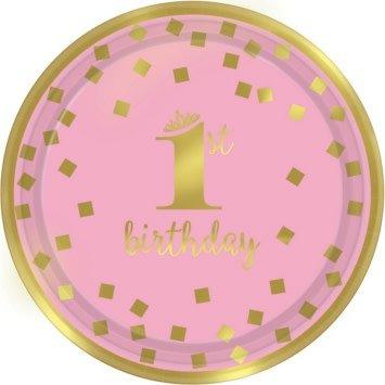 "1st Birthday Girl Metallic Round Plates 9"" (8)"