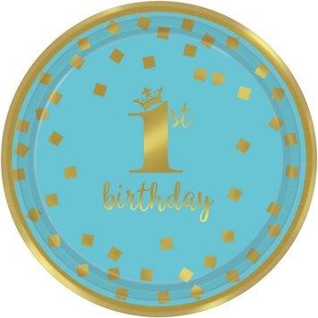"1st Birthday Boy Metallic Round Plates 7"" (8)"