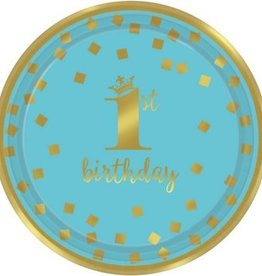 "1st Birthday Boy Metallic Round Plates 7"" (8)"